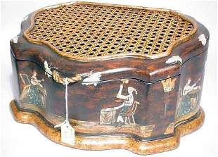 REGENCY STYLE GILDED AND DECORATED COMPOSITION LID