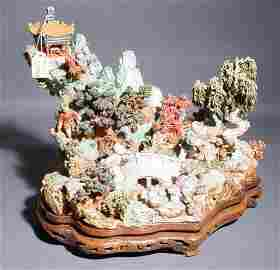 572A: CARVED POLYCHROMED IVORY FIGURAL PLATEAU