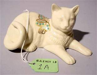 LENOX PORCELAIN FIGURE OF A CAT, having gilt accent