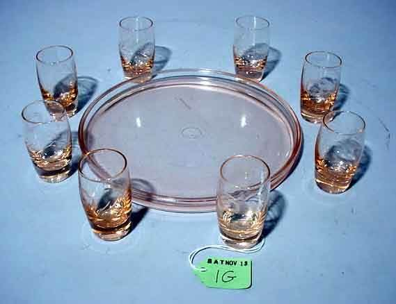 1G: PALE PINK AND MOULDED ETCHED GLASS LIQUEUR SET, the
