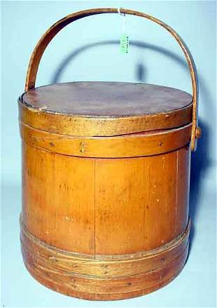SHAKER STYLE BANDED MAPLE BASKET, early 20th centur