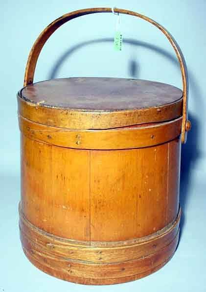1W: SHAKER STYLE BANDED MAPLE BASKET, early 20th centur