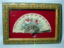 93A: SPANISH HAND-PAINTED FLORAL DECORATED LACE FAN IN