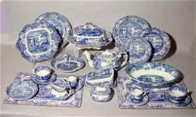 98 61 PIECE SPODE BLUE AND WHITE DECORATED CHINA SET