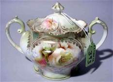 393: R.S. PRUSSIA FLORAL DECORATED AND GILDED TWO-HANDL