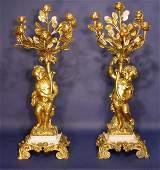 578 PAIR OF LOUIS XVI STYLE SIXLIGHT GILT BRONZE CAND