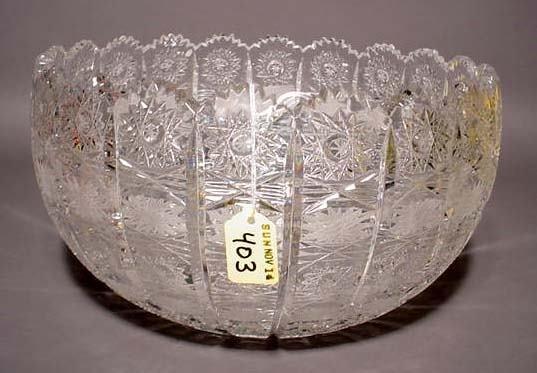 403: CUT GLASS BOWL, ''Lace'' pattern, having a scallop