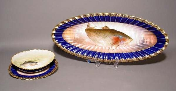 404: FINELY DECORATED AND GILDED LIMOGES MASTER FISH SE