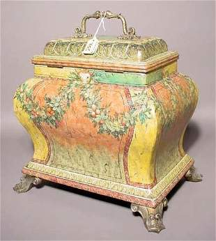 REGENCY STYLE DECORATED COMPOSITION COVERED BOX, '