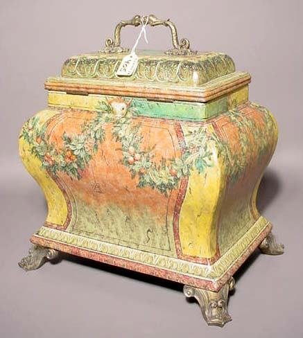 405: REGENCY STYLE DECORATED COMPOSITION COVERED BOX, '