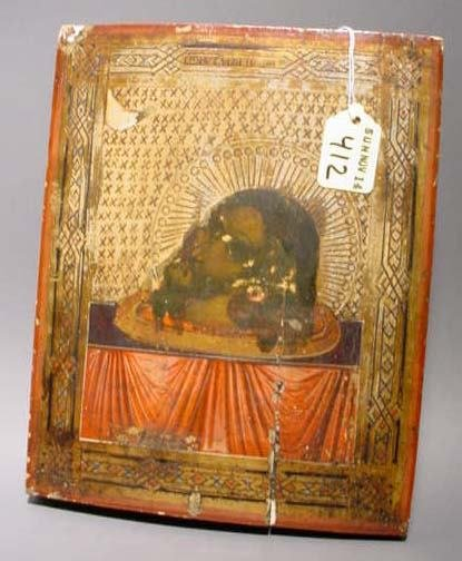412: RUSSIAN ICON OF THE HEAD OF JOHN THE BAPTIST, 19th