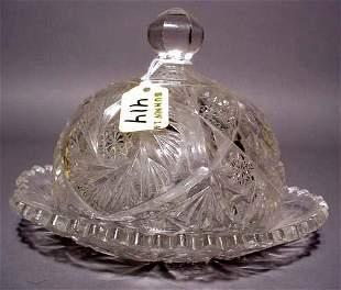 AMERICAN BRILLIANT PERIOD CUT GLASS DOMED BUTTER D