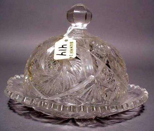 414: AMERICAN BRILLIANT PERIOD CUT GLASS DOMED BUTTER D