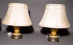 PAIR OF VICTORIAN SYTLE DECORATED AND GILDED MILK