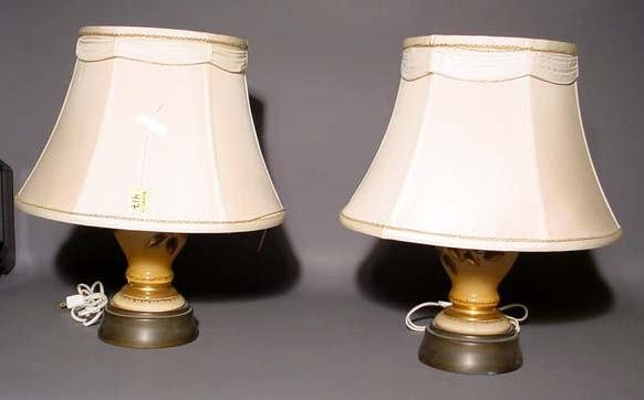 417: PAIR OF VICTORIAN SYTLE DECORATED AND GILDED MILK
