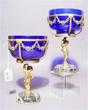 PAIR OF GILT METAL MARBLE AND COBALT GLASS CHALICE