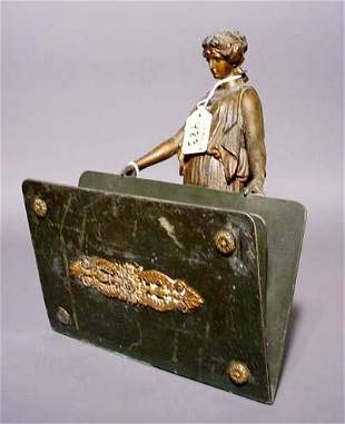 FRENCH PATINATED SPELTER AND PAINTED METAL FIGURAL