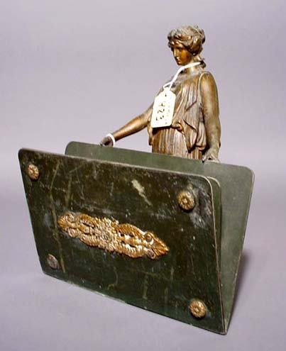 423: FRENCH PATINATED SPELTER AND PAINTED METAL FIGURAL