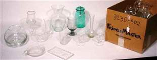 MISCELLANEOUS LOT OF ETCHED AND MOULDED GLASS STE