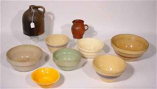 BOX LOT OF AMERICAN POTTERY AND STONEWARE BOWLS,