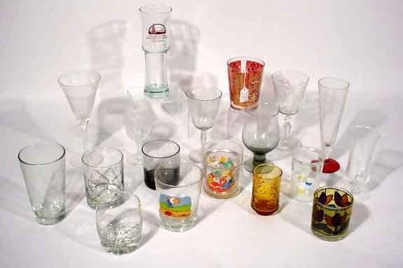 1020: THREE BOXES OF MISCELLANEOUS GLASSWARE, BARWARE A