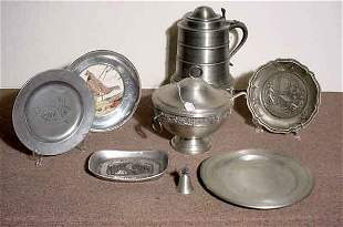 BOX OF PEWTER ITEMS