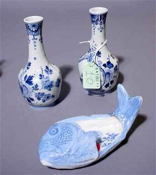 1O: LOT OF DELFTWARE BLUE AND WHITE DECORATED PORCELAIN