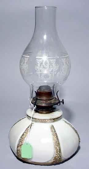 1W: MOULDED WHITE MILK GLASS OIL LAMP, late 19th centur