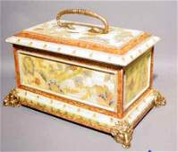 2X: GILDED AND DECORATED COMPOSITION COVERED BOX, ''Pai