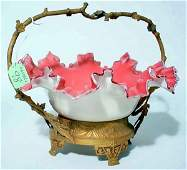 100: VICTORIAN PINK CASED GLASS BRIDE'S BASKET, late 19