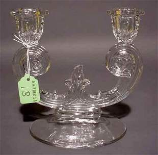 """""""MOULDED GLASS TWO-LIGHT CANDELABRUM, having a s"""
