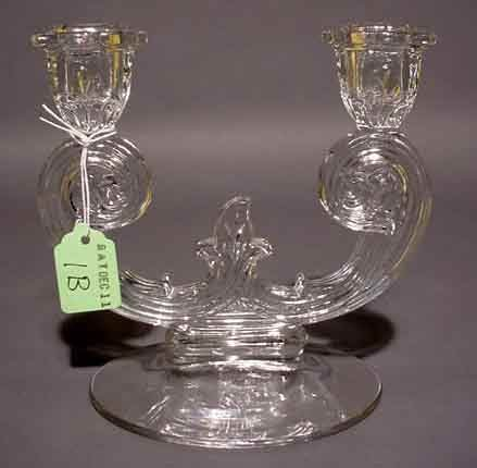 """2001B: """"MOULDED GLASS TWO-LIGHT CANDELABRUM, having a s"""