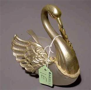 SILVERPLATED AND FROSTED GLASS SWAN FIGURED COND