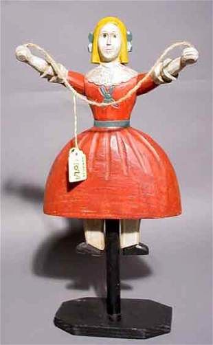 402A: FOLK ART CARVED AND DECORATED WOOD FIGURE OF A DO