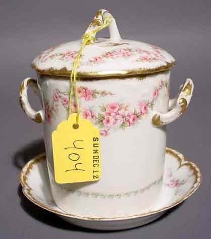 404: LIMOGES FLORAL DECORATED AND GILDED COVERED JAM JA