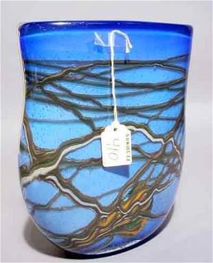 410: VENETIAN BLUE ART GLASS VASE, flattened baluster f