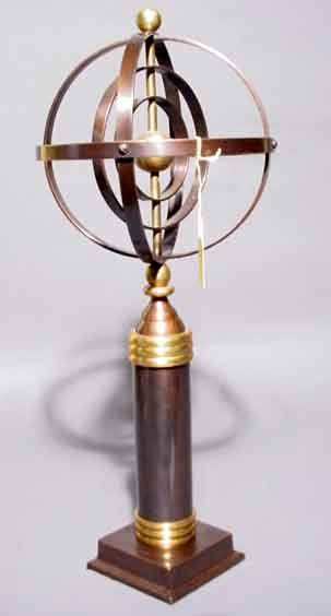 412: BRONZE FINISHED AND BRUSHED BRASS ARMILLARY SPHERE