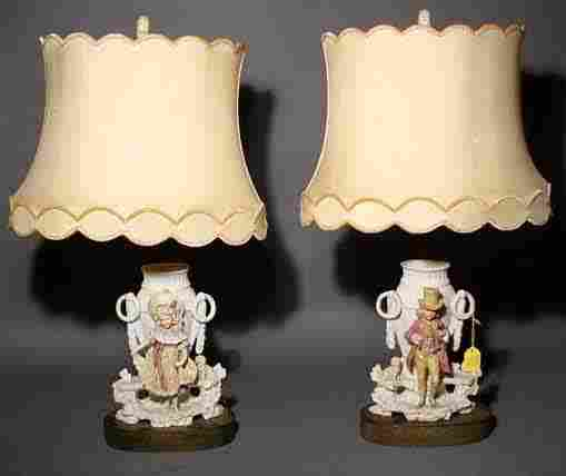 416: PAIR OF GERMAN DECORATED BISQUE FIGURAL TABLE LAMP