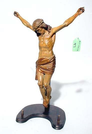 417: SUPERBLY CARVED CONTINENTAL WALNUT FIGURE OF CHRIS