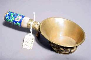 788: ANTIQUE CHINESE ENAMEL AND BRASS IRON, having and