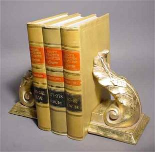 792: PAIR OF GILDED CAST STONE FIGURAL BOOKENDS, modele