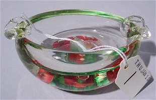 GOOD OVAL PAPERWEIGHT DESIGN CRYSTAL ASHTRAY, having