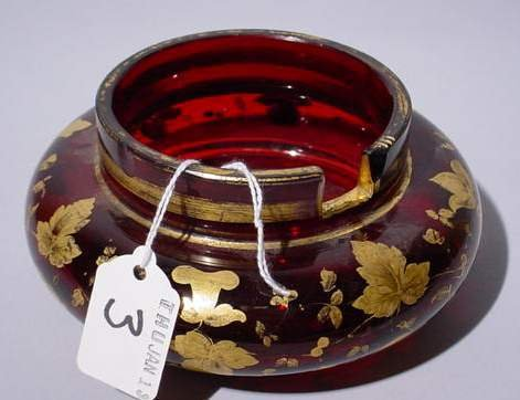 3: GILT DECORATED RUBY BOWL ON CIRCULAR BASE; 2-1/4 inc