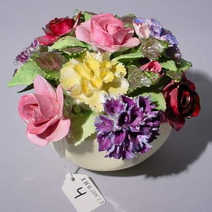 4: DECORATIVE PORCELAIN FLORAL ARRANGEMENT, signed Roya