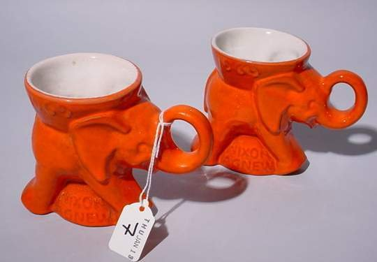 7: PAIR OF FRANKOMA NIXON AGREW GOP ELEPHANT MUGS, date
