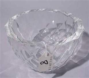 ORREFORS CRYSTAL CIRCULAR BOWL, having a diamond pat
