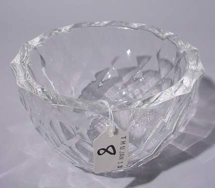 8: ORREFORS CRYSTAL CIRCULAR BOWL, having a diamond pat