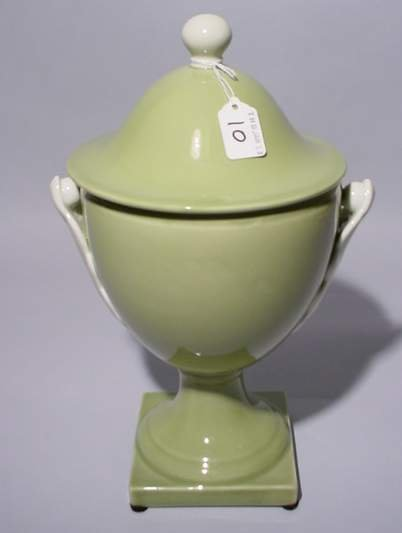 10: CELADON GLAZED COVERED URN, having a ball form fini