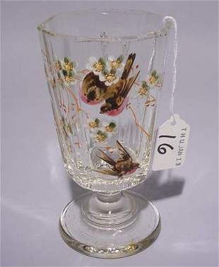 GERMAN MOLDED GLASS REMEMBRANCE VASE, late 19th cen