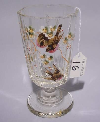 16: GERMAN MOLDED GLASS REMEMBRANCE VASE, late 19th cen